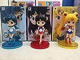 Flowe Mow Anime Sailor Moon - Usagi Tsukino/Sailor Mercury Ami Mizuno/Sailor Mars Hino Rei 3 pcs/Team PVC Action Figure - Collectible Toy