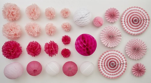 Pink Party Kit 27 Pretty Pieces Huge Tiny Tissue Paper Flowers