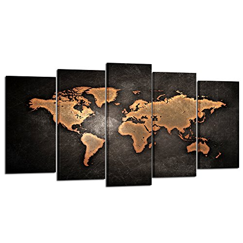 Contemporary attractive and charming map wall art home wall art decor kreative arts retro world map poster framed 5 pcs giclee canvas prints vintage abstract world gumiabroncs Choice Image