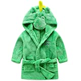 Baby Boys Girls Kids Bathrobe Cartoon Animals Hooded Fleece Pajamas Robes(Green Dinosaur, 3-4T(Height:39.4'-43.3'/100-110cm))