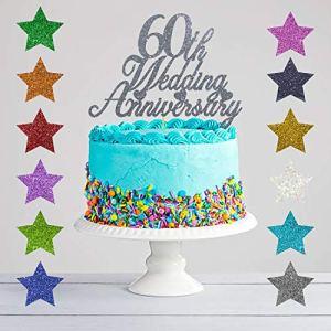 60th Wedding Anniversary Glitter Cake Topper, Diamond Wedding Anniversary 51hS9G7dLKL