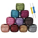 10 x Sparkly Colorful Glitter Thread Set with 2 Crochet Hooks - 92.95 Yards Assorted Color Crochet Thread - Crochet Yarn Skeins Balls - 929.50 Yards in Total for Beginners or Crochet Enthusiasts