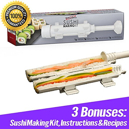 moxie&co. Sushi Making Kit for Sushi Rolls - Perfect Roll Sushi with the All In One Sushi Roller - Experiment with your Sushi Bazooka - Includes Sushi Maker Instructions & Sushi Kit Recipes