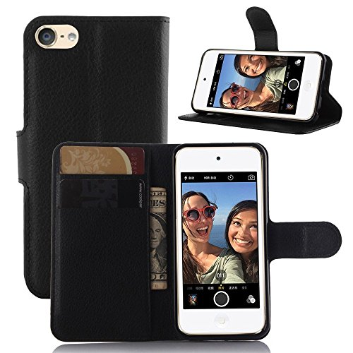 iPod Touch 5 Case, iPod Touch 6 Case, [LuckQR] Premium Luxury Leather Wallet Case, Folding Kickstand, Folio Design with ID Card & Cash Slots, Fit For Apple iPod Touch 5th / 6th Generation - Black