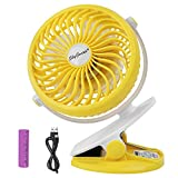 SkyGenius Battery Operated Clip on Fan for Baby Stroller Car Back Seat Travel Outdoors Camping, Small Personal Fan Mini Desk Table Fan Portable Powered by Rechargeable 2600mAh Battery or USB(Yellow)