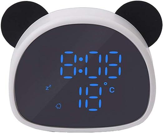 Amazon Com Enjoy Best Time Cute Panda Alarm Clock Digital Led Desktop Clock For Bedside Black Home Kitchen