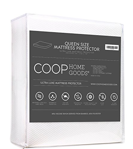 COOP HOME GOODS - Lulltra Waterproof Mattress Pad Protector Cover - Waterproof Hypoallergenic Topper with Cooling Polyester & Rayon - Queen Size - White - 15 Year Warranty