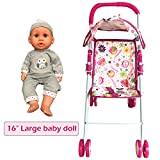 Annie's Collection Baby Doll Stroller with Doll, Foldable with Basket and Adjustable Hood for Girls Aged About 3 Years Old