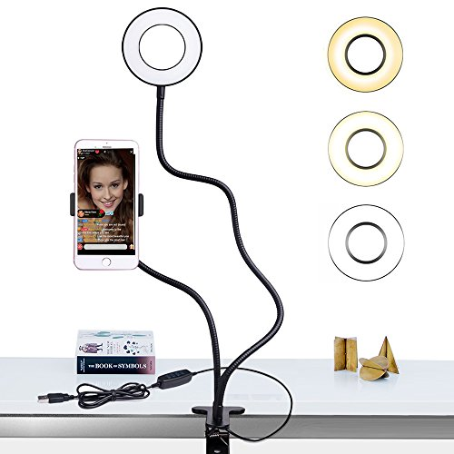 Selfie Ring Light with Cell Phone Holder Stand for Live Stream / Makeup, Bcway Clip Lazy Bracket [3-Light Mode] [10-Level Brightness] LED Camera Light for iPhone Android Phone