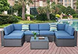 SOLAURA Outdoor Furniture Set 7-Piece Wicker Furniture Modular Sectional Sofa Set Gray Wicker Olefin Fiber Soft Denim Blue Cushions with YKK Zipper &Coffee Table with Waterproof Cover