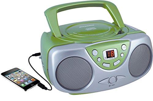 Sylvania SRCD243 Portable CD Player with AM/FM Radio, Boombox(Green)