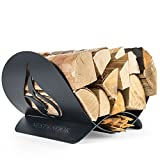 Nest & Nook Fireplace Wood Holder Indoor, Outdoor, Patio - Decorative Firewood Rack - Weather-Resistant Storage Rack for Firewood, Kindling and Hearth Logs - Artistic Design (Flame)