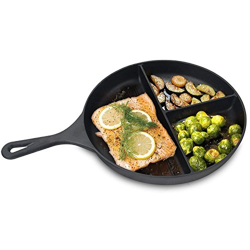 Jim Beam 3 Section Pre-Seasoned Cast Iron Skillet Pan | 10' Inch Divided Pan For Cooking 3 Things At Once
