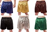 Up2date Fashion Men's 6 Satin Boxer Shorts Combo Pack, Six Boxers, Style MSC-6B01 (M)