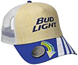 Budweiser Men's Bud Light Adjustable Straw Baseball Cap with Bottle Opener, Natural, One Size