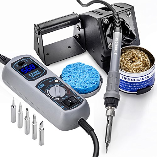 X-Tronic Model #3040-XR3-75 Watt Soldering Station - LED Temp Display, C/F Programmable Switch, 10 Minute Sleep Function, Iron Holder with Brass Tip Cleaner, Cleaning Flux Plus 6 Asst Soldering Tips