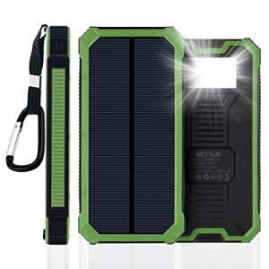 JETSUN Solar Charger, Portable 15000mAh Power Bank External Battery with Fast Charge, 2-Port Dual USB Backup Battery Pack