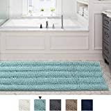 59x20 inch Oversize Non-Slip Bathroom Rug Shag Shower Mat Soft Thick Floor Mat Machine-Washable Bath Mats with Water Absorbent Soft Microfibers Long Striped Rugs for Powder Room, Duck Egg Blue
