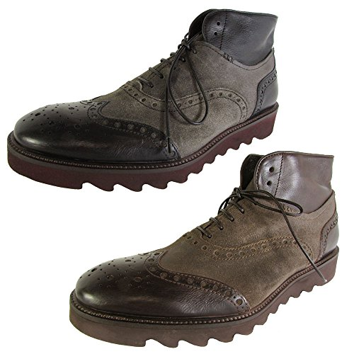 51hcYVcW 2L Leather ankle boot with lace-up vamp featuring wingtip detailing and medallion toe Lugged outsole