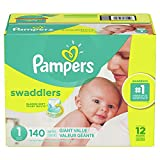 Diapers Newborn / Size 1 (8-14 lb), 140 Count - Pampers Swaddlers Disposable Baby Diapers, Giant Pack
