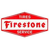 Open Road Brands Tires Firestone Service Rustic Embossed Metal Sign