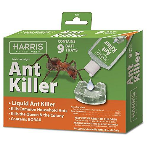 Harris Borax Liquid Ant Killer, 3 Ounces with 9 Bait Trays