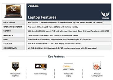 ASUS-TUF-Gaming-A15-Laptop-156-FHD-144Hz-Ryzen-7-4800H-GTX-1650Ti-4GB-Graphics-8GB-RAM512GB-NVMe-SSDWindows-10Bonfire-Black230-Kg-FA506II-HN152T