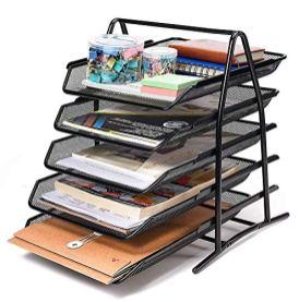 DAHSHA-5-Tier-Mesh-Metal-Desk-Organiser-File-Rack-Letter-Tray-A4-Papers-Documents-Holder-Desk-Organizer-for-Office