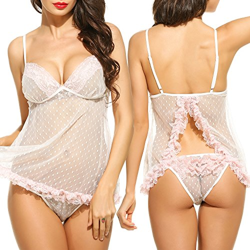 Avidlove Women Sexy Lingerie Dress Open Back Lace Polka Dot Babydoll Mesh Chemise White M