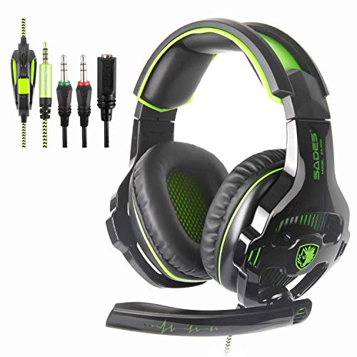 New Xbox One PS4 Gaming Headset with Microphones, Sades SA810 3.5mm In-line Volume Control Wired Noise Isolation Bass Surround Over-Ear Headphones for PC Mac iPad iPod Laptop Computer(Black/Green)