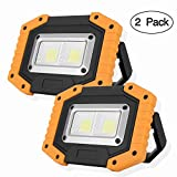 OTYTY COB 30W 1500LM LED Work Light 2 Pack, Rechargeable Portable Waterproof LED Flood Lights for Outdoor Camping Hiking Emergency Car Repairing and Job Site Lighting (W840 Yellow)