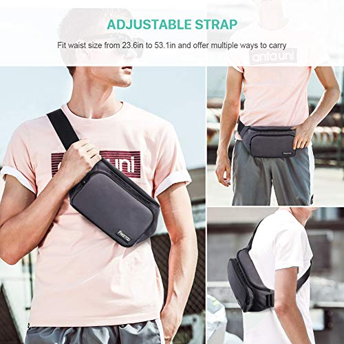 FREETOO Men's Waist Pack with Large Capacity, Waterproof and Wear-Resistant Nylon Fabric Fanny Pack for Phones, Tablets Up to 7.9'', Suitable for Working, Walking, Traveling, Daily Leisure (Gray) deal 50% off 51hkCLq 2BUTL