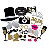 7-gost 21PCS 2020 New Year's Eve Party Card Masks Photo Booth Props Supplies Decorations