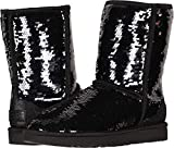 UGG Women's W Classic Short Sequin Fashion Boot, Black, 8 M US