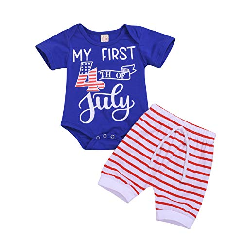 4th of July Baby Boy Outfits Newborn American Flag Romper Bodysuit + Stripes Short Pants Outfit Independence Day Clothes