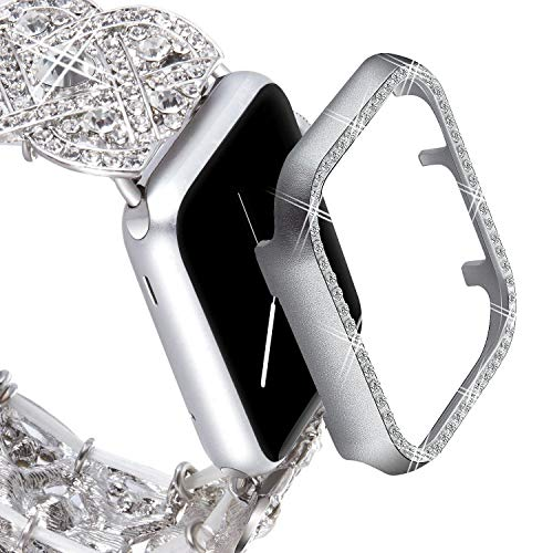 VIQIV Bling Protective Face Bumper Case Cover for Compatible with Apple Watch 38mm 42mm 40mm 44mm, Crystal Diamond Plate Frame Compatible with Apple iWatch Series 4 3 2 1 Silver