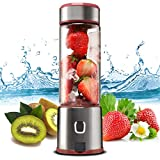 Portable Glass Smoothie Blender, TTLIFE Personal Blender USB Rechargeable, Small Blender Single Serve, Mixer Juicer Cup Travel Blender Cordless with 5200mAh Rechargeable Battery for Shakes and Smoothies, Baby Food, FDA, BPA Free-Pink