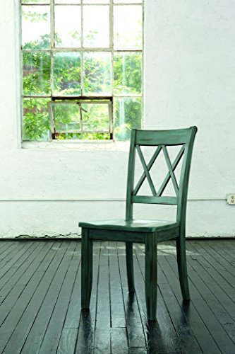 Surprising Ashley Furniture Signature Design Mestler Dining Room Side Chair Wood Seat Set Of 2 Blue Green Home Interior And Landscaping Dextoversignezvosmurscom