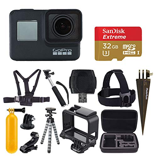GoPro HERO7 Black Digital Action Camera 4K HD Video 12MP Photos, SanDisk 32GB Micro SD Card, Hard Case – Gopro Hero 7 Accessory Bundle