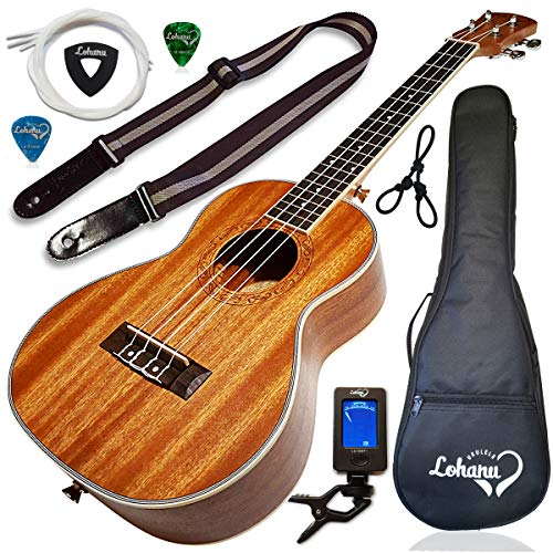 Ukulele Tenor Size Bundle From Lohanu (LU-T) 2 Strap Pins Installed FREE Uke Strap Case Tuner Picks Hanger Aquila Strings Installed Free Video Lessons BEST UKULELE BUNDLE DEAL Purchase Today!