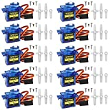 Smraza 10 Pcs SG90 9G Micro Servo Motor Kit for RC Robot Arm Helicopter Airplane Car Boat Control, Arduino Project