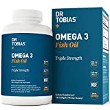 Dr Tobias Omega 3 Fish Oil Triple Strength, 2,000mg, Burpless, Non-GMO, NSF-Certified, 180 Counts