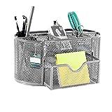 Uplord Desk Supplies Organizer,Pencil and Pen Holder Office Desk Supplies Organizer Desktop Metal Storage Mesh,8 Parts + 1 Slide Drawer
