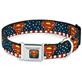 "Buckle-Down Seatbelt Buckle Dog Collar - Superman Shield Americana Red/White/Blue/Yellow - 1"" Wide - Fits 9-15"" Neck - Small"