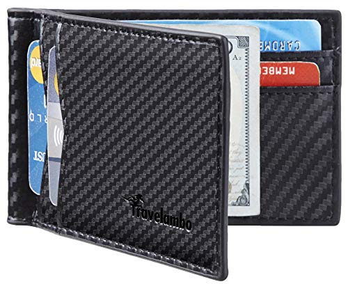 Travelambo Leather RFID Blocking Slim Minimalist Front Pocket Wallet Money Clip (Carbon Fiber Black)