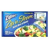 Ziploc Zip'n'Steam Microwave Cooking Bags, Medium - 10 Bags (Pack of 3)