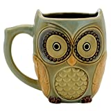 Teagas Cute Owl Mug Cup 12 oz - Cyan Cute Owl Morning Coffee Ceramic Mug