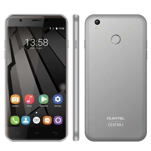 OUKITEL U7 Plus 16GB 5.5 Inch Android 6.0 Smartphone, MTK6737 Quad Core up to 1.3GHz, 2GB RAM GSM & WCDMA & FDD-LTE (Grey)