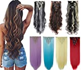 8Pcs 18 Clips 17-26 Inch Curly Straight Full Head Clip in on Hair Extensions Women Lady Hairpiece Dark Blonde Mix Light Blonde #1, 24 Inch-Curly,Dark Blonde Mix Light Blonde#1,24 Inch-Curly