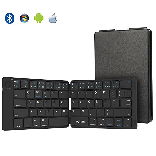 Folding Keyboard, Jelly Comb Ultra Slim Foldable BT Keyboard B047 Rechargeable Pocket Sized Keyboard for All iOS Android Windows Laptop Tablet Smartphone and More (Black)